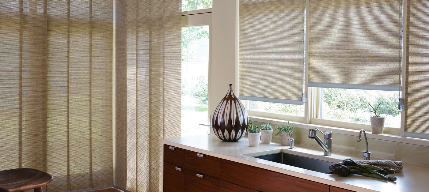 The Alustra Collection of Roller Shades in Raffia