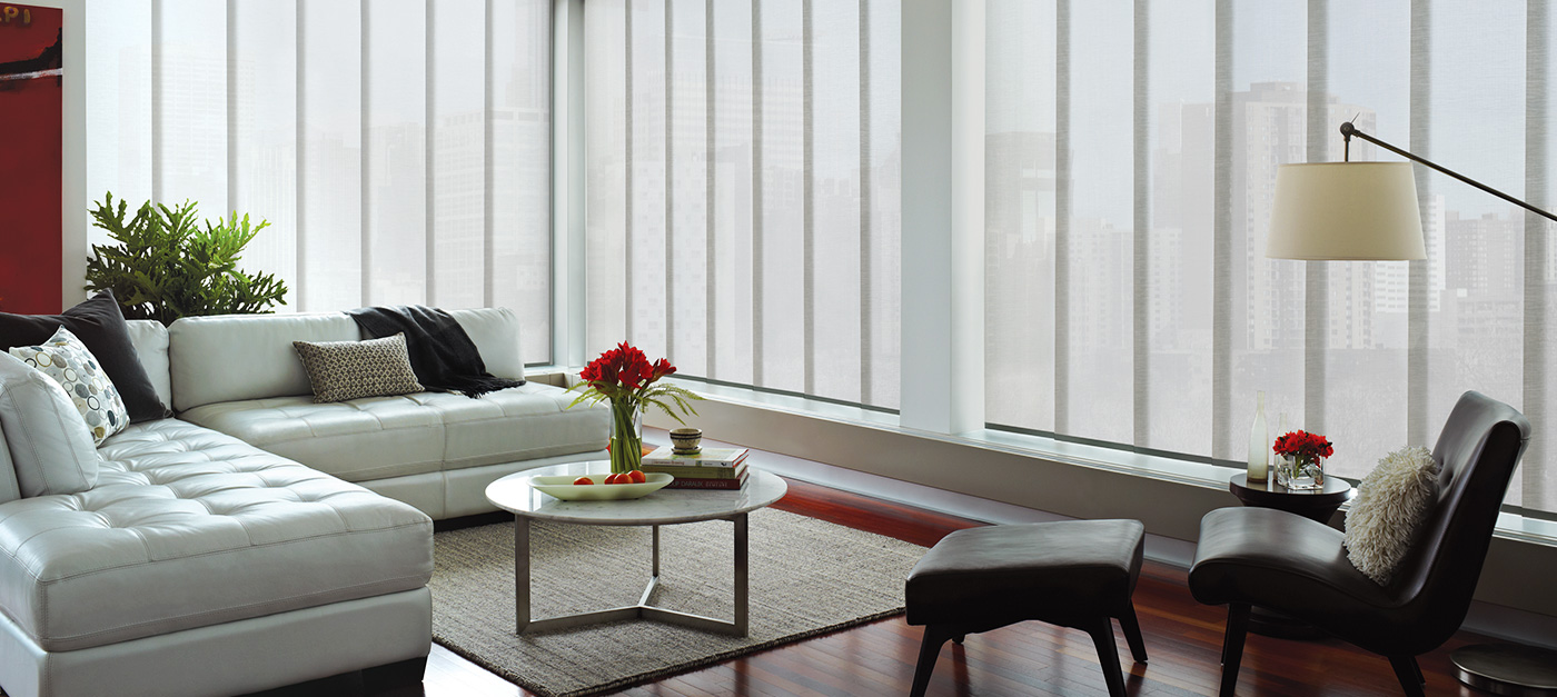 Vertical blinds sliding glass doors motorized skyline in oyster shell eventelaan Gallery