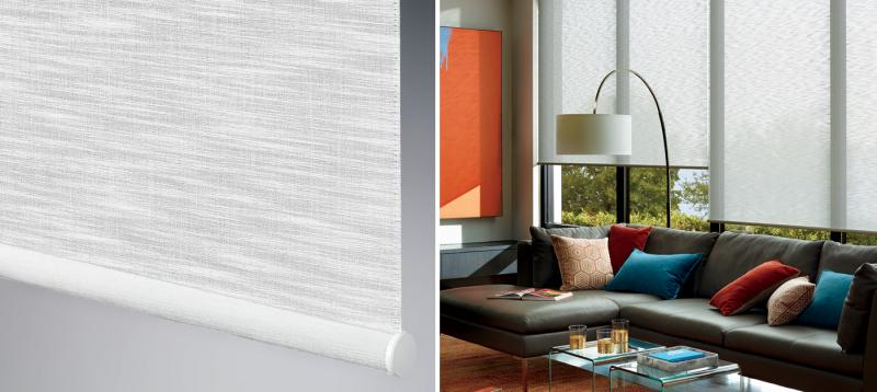 The Alustra Collection of Roller Shades Close-up and Room