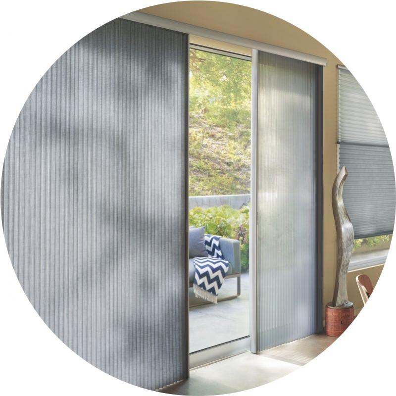 The alustra collection of duette architella hunter for Sliding glass doors shades