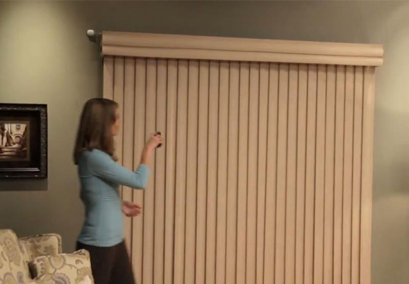 Vertical blinds vertical solutions hunter douglas for Motorized blinds shades