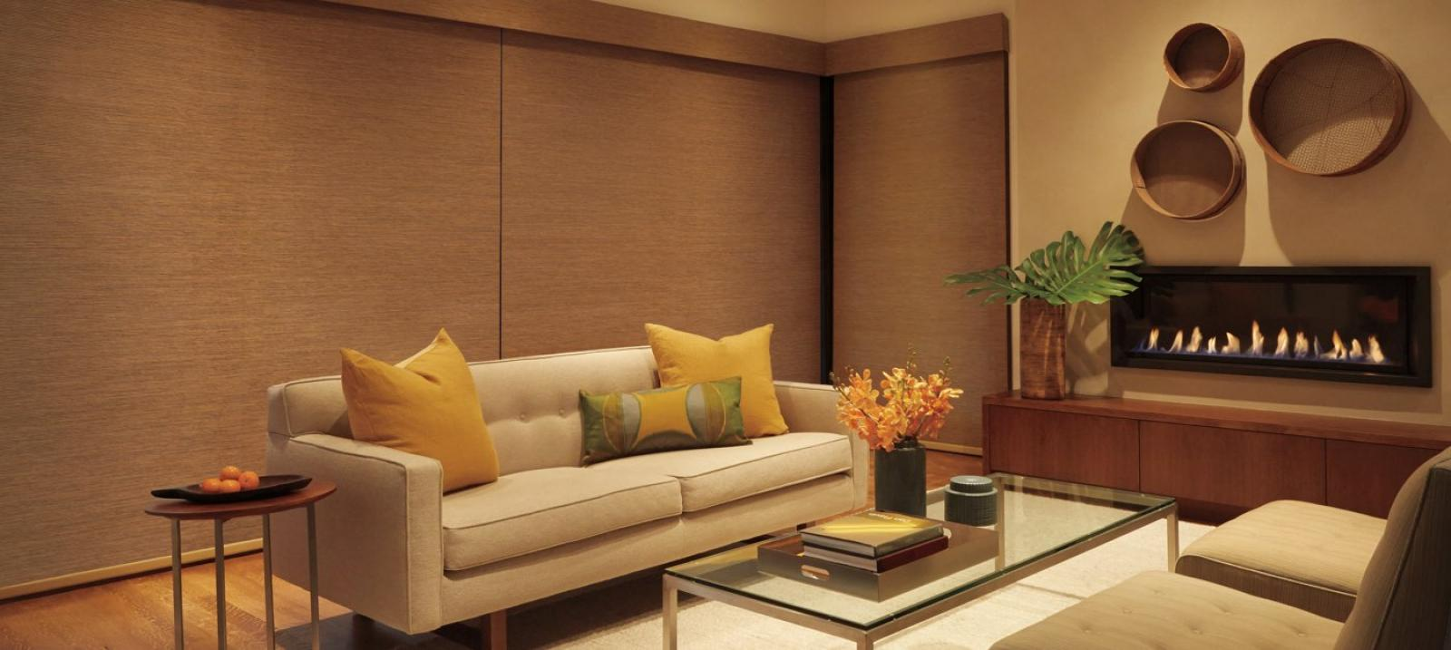 Designer Roller Shades in Sandalwood