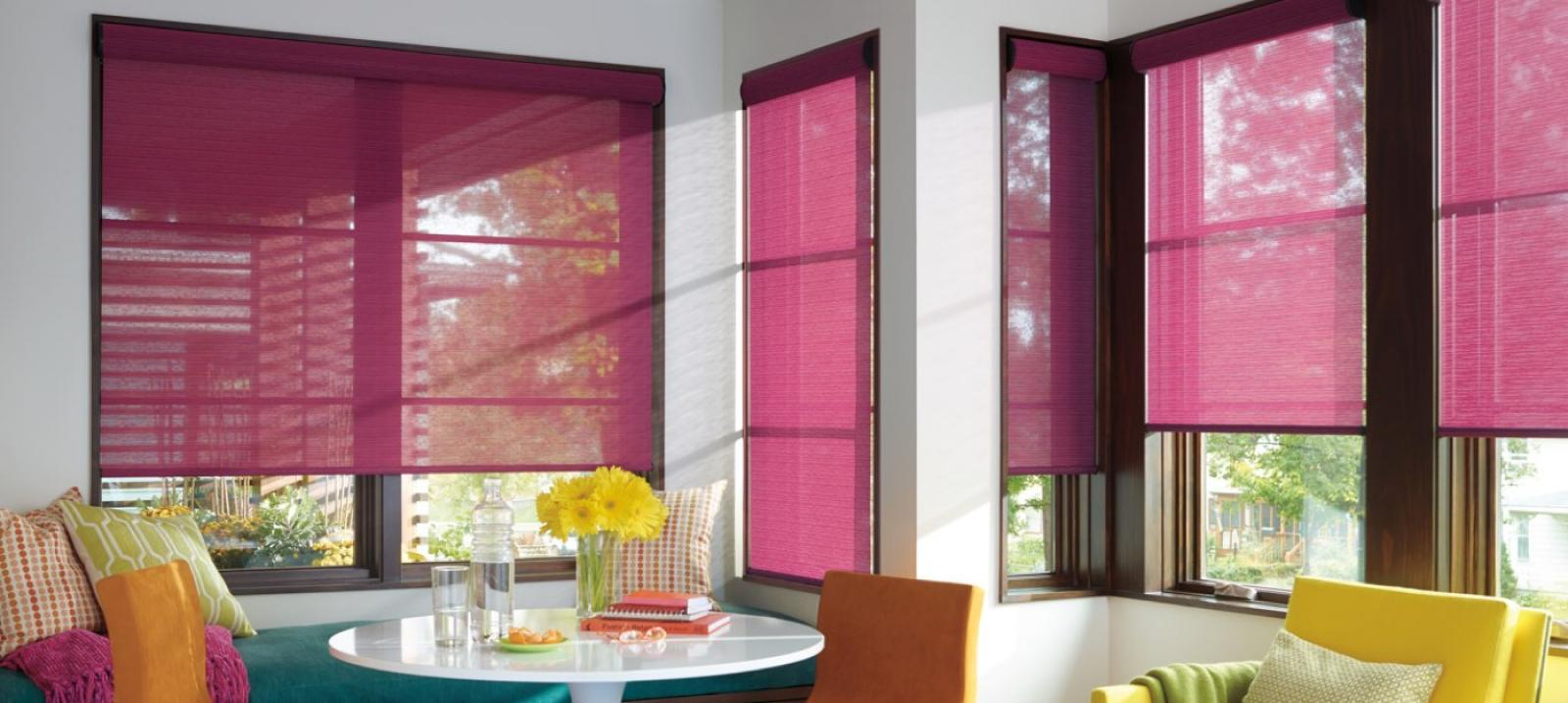 Designer Roller Shades in Fuschia