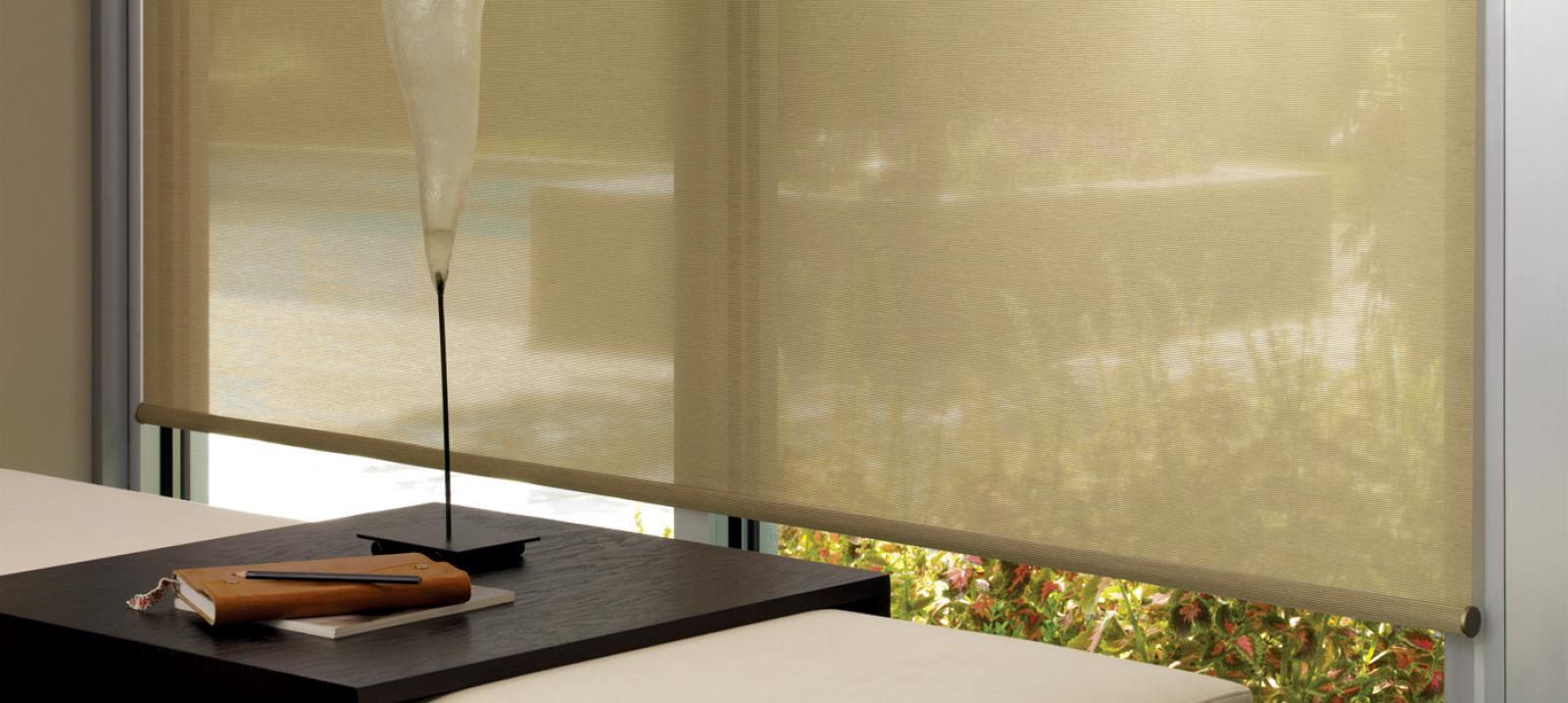 The Alustra Collection of Roller Shades in Café